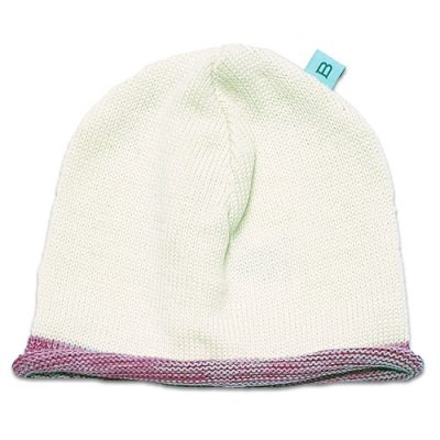 Flatlay of a pure wool Branberry beanie in ivory white with contrast pink marl roll edge