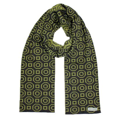 An Australian Made, Branberry Pure Merino Wool Art Deco Scarf in Dark Grey & Leaf Green