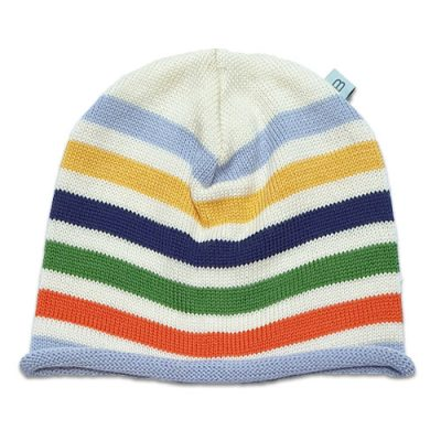 Flatlay of a Bright and vibrant coloured striped pure wool rainbow Branberry beanie