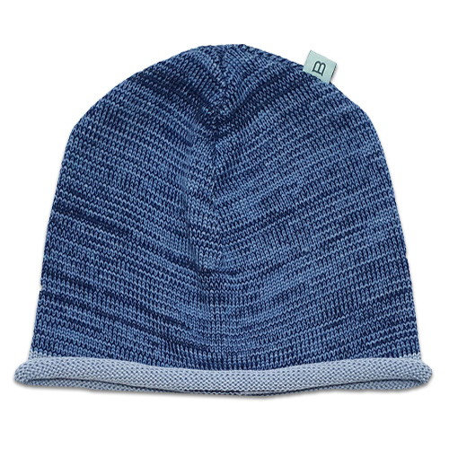 Flatlay Roll edge Pure wool Branberry beanie in ocean blue marl