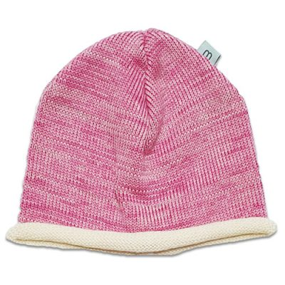 Flatlay Roll edge Pure wool Branberry beanie in taffy pink marl