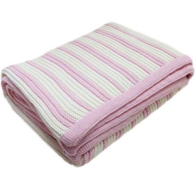 Folded Branberry Striped Garter knitted baby Blanket in Pink & Ivory White