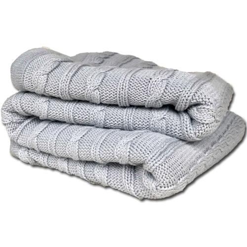 Branberry, Australian Made cotton and wool blend cable blanket in grey folded.