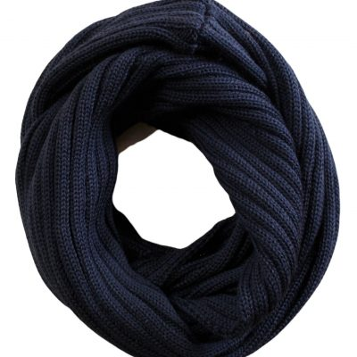 Chunky Rib Wool Loop Scarf in Black