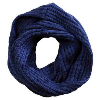 Chunky Rib Wool Loop Scarf in Princeton Navy