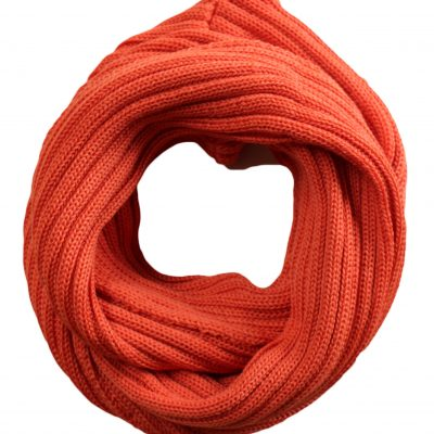 Chunky Rib Wool Loop Scarf in Orange