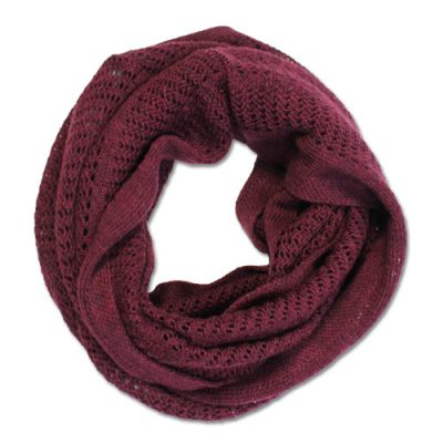 Australian Made, Australian Merino Wool Vintage Lace Looped Branberry Scarf in Berry