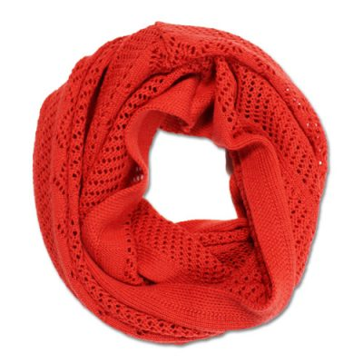 Australian Made, Australian Merino Wool Vintage Lace Looped Branberry Scarf in Orange