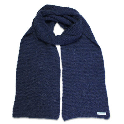 Australian Made, Alpaca & Australian Merino Wool Poppy Branberry Scarf in Seadrift Blue