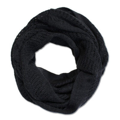 Australian Made, Australian Merino Wool Vintage Lace Looped Branberry Scarf in Charcoal