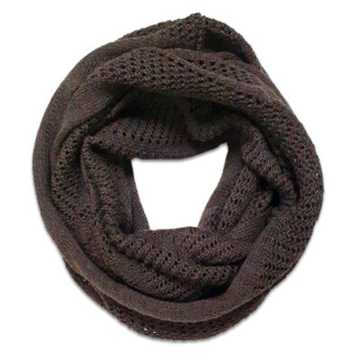 Australian Made, Australian Merino Wool Vintage Lace Looped Branberry Scarf in Chocolate