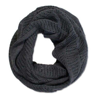 Australian Made, Australian Merino Wool Vintage Lace Looped Branberry Scarf in Gunmetal Grey