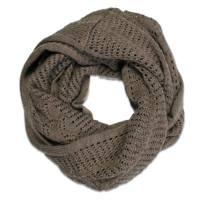 Australian Made, Australian Merino Wool Vintage Lace Looped Branberry Scarf in Beige