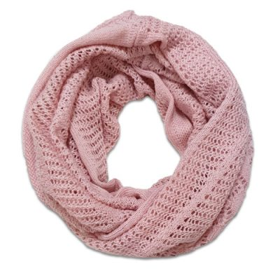 Australian Made, Australian Merino Wool Vintage Lace Looped Branberry Scarf in Cinderella Pink