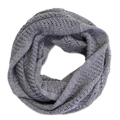 Australian Made, Australian Merino Wool Vintage Lace Looped Branberry Scarf in Koala Grey