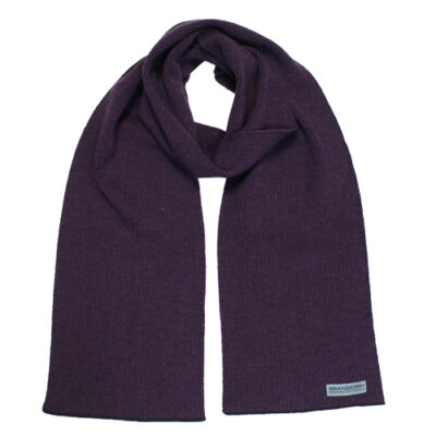 Australian Made, Australian Merino Wool Unisex Mini Striped Branberry Scarf in Blackcurrant