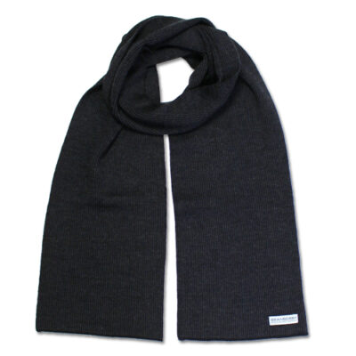 Australian Made, Australian Merino Wool Unisex Mini Striped Branberry Scarf in Charcoal