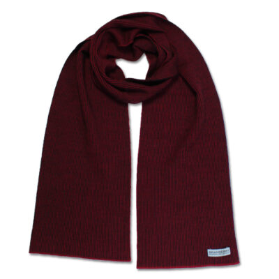 Australian Made, Australian Merino Wool Unisex Mini Striped Branberry Scarf in Sangria