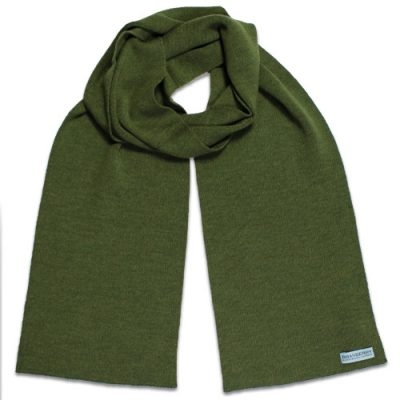Branberry Merino Wool Scarf in Olive Green