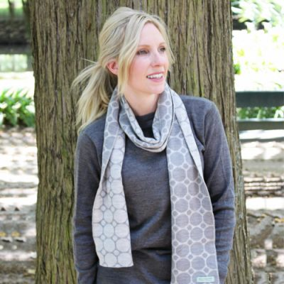 Women wearing a spotted Branberry Merino wool, Australian made scarf in Grey