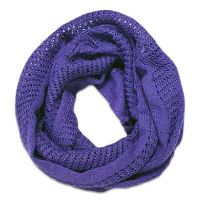 Australian Made, Australian Merino Wool Vintage Lace Looped Branberry Scarf in Amethyst