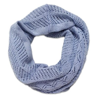 Australian Made, Australian Merino Wool Vintage Lace Looped Branberry Scarf in Powder Blue