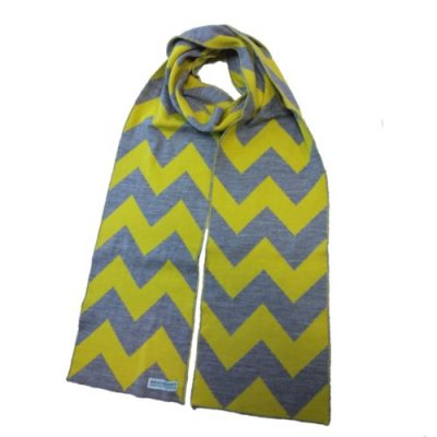 branberry zig zag chevron merino wool scarf in silver and citrus yellow