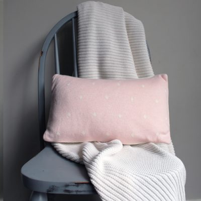 Australian made Branberry Cotton Wool Blend Pink spot cushion
