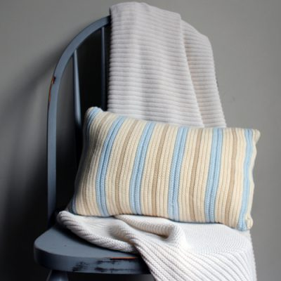 Australian made Branberry Cotton Wool Blend Blue, Beige and white striped cushion