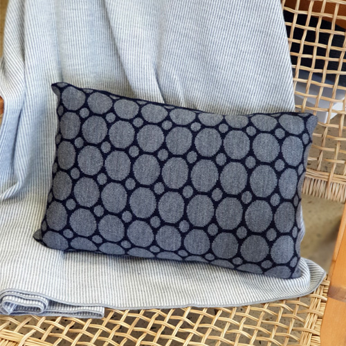 Pure Australian Merino Wool knitted Branberry Cushion in a spot and dot design in navy and grey