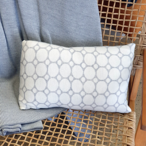 Pure Australian Merino Wool knitted Branberry Cushion in a spot and dot design in white and silver grey