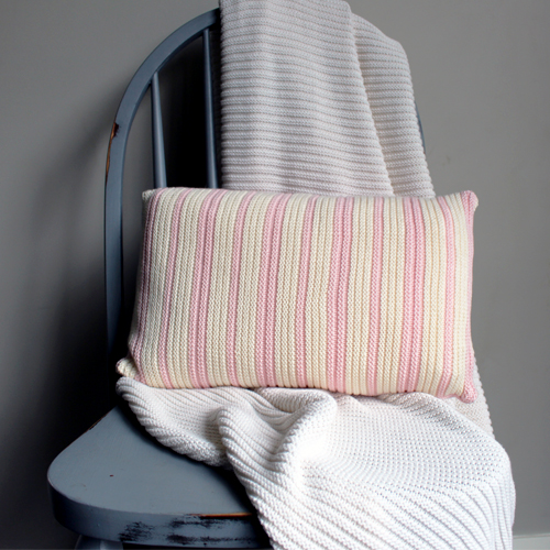Australian made Branberry Cotton Wool Blend Pink and white striped cushion