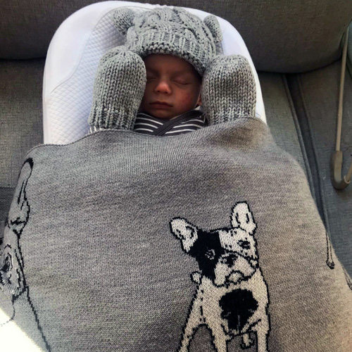Baby sleeping wrapped in a Branberry, Pure Wool French bulldog designed blanket