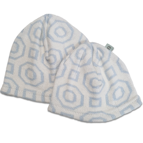 Branberry Australian made baby and toddler boys beanie. Art Deco blue design made from cotton and wool