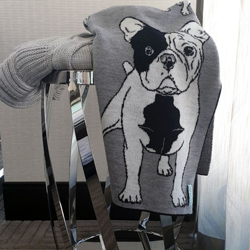 Frenchie French Bulldog Blanket in Black White and Grey