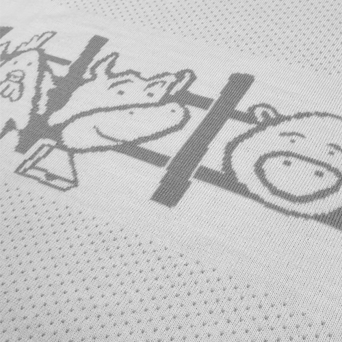 Australian made knitted merino wool Farm animals blanket in Grey. Close up of a cow and pig peeking through the fence.