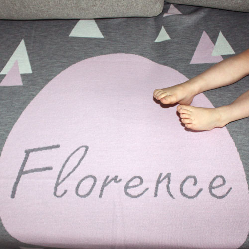personalised pure merino wool knitted Branberry blankets in pink, grey & white