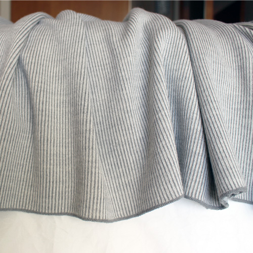 Knitted Branberry Pure Australian Merino Wool, Bobbie Throw Blanket in Silver