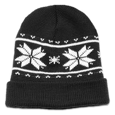 Flatlay of an Australian Made, Australian Merino Wool Snowflake Beanie in Black and White
