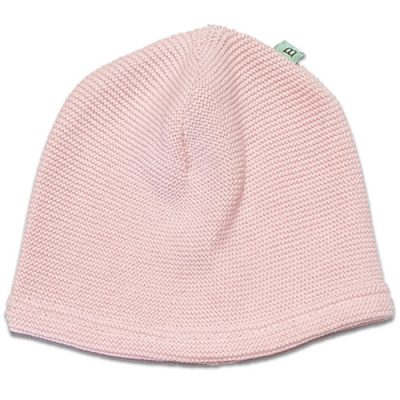 Flatlay of an Australian Made Natural Fibre, Merino Wool and Cotton Tiny Garter Beanie in Pale Pink