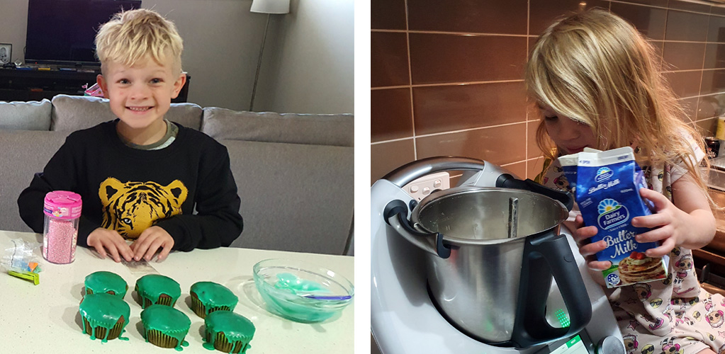 Fun & Free at home activities to entertain young children. Baking fun. A boy and a girl in the kitchen baking cupcakes with green icing.