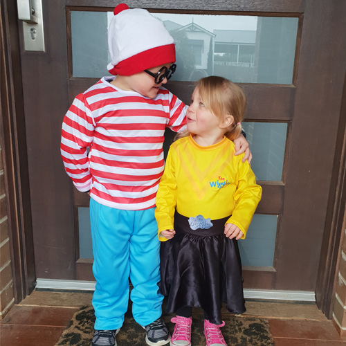 Fun & Free at home activities to entertain young children. Dress Ups, a brother and sister, arm in arm dressed up as Where's Wally and Emma Wiggle.
