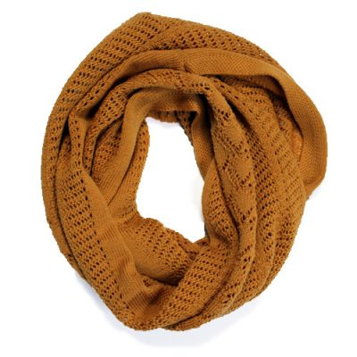 Australian Made, Australian Merino Wool Vintage Lace Looped Branberry Scarf in Copper