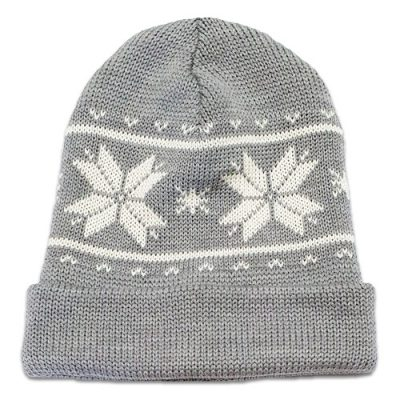 Flatlay of an Australian Made, Australian Merino Wool Snowflake Beanie in Silver and White