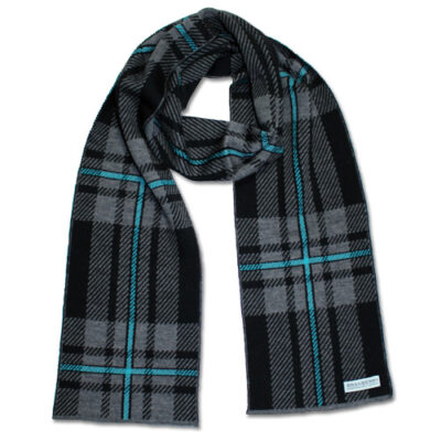 An Australian Made, Branberry Pure Merino Wool Tartan Scarf in Black, Grey and Aqua