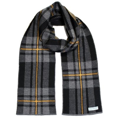 An Australian Made, Branberry Pure Merino Wool Tartan Scarf in Black, Grey and Copper