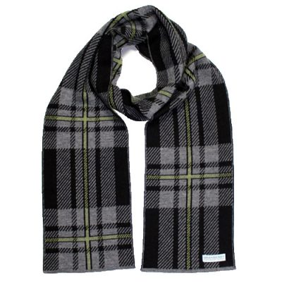 An Australian Made, Branberry Pure Merino Wool Tartan Scarf in Black, Grey and Olive