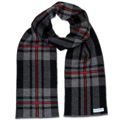 An Australian Made, Branberry Pure Merino Wool Tartan Scarf in Black, Grey and Red