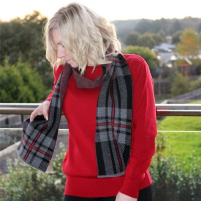 Lady wearing an Australian Made, Branberry Pure Merino Wool Tartan Scarf in Black, Grey and Sangria Red