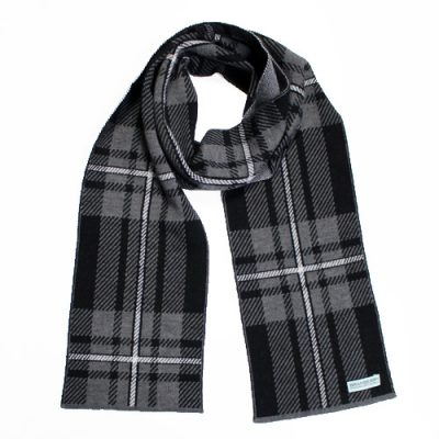 An Australian Made, Branberry Pure Merino Wool Tartan Scarf in Black, Grey and White
